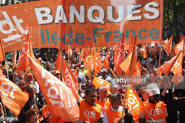 Thousands of people demonstrate as part of a nationwide strike called by the two biggest unions CGT and CFDT on June 17 2008 in Paris to show...