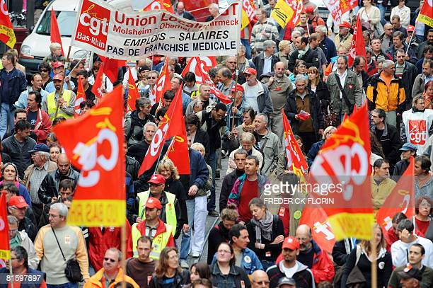 Thousands of people demonstrate as part of a nationwide strike on June 17 2008 in Strasbourg eastern France to show opposition to pension reform...