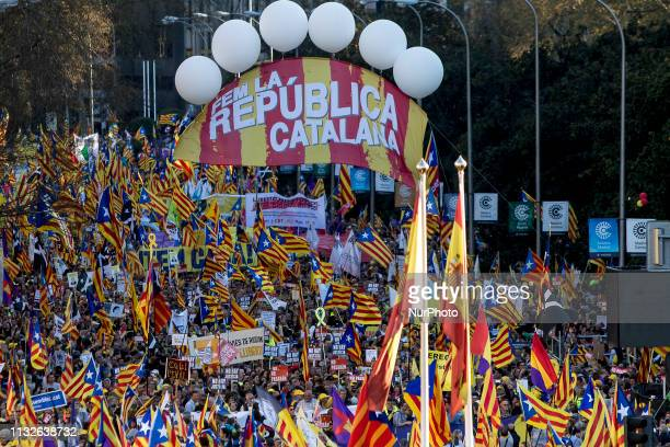Thousands of people demonstrate in Madrid capital of Spain in favor of the right of selfdetermination and independence of Catalonia in Madrid Spain...