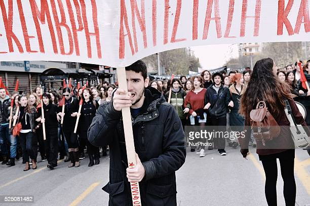 Thousands of people demonstrated in the centre of Thessaloniki in memory of the 15 year old student Alexis Grigoropoulos who was shot dead by a...