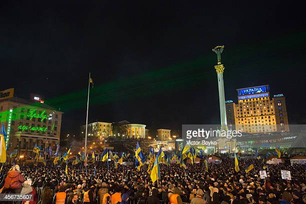 Thousands of people fill up Maidan Square waiting for rock band Okean Elzy to perfom on December 14 2013 in Kiev Ukraine Antigovernment protests...