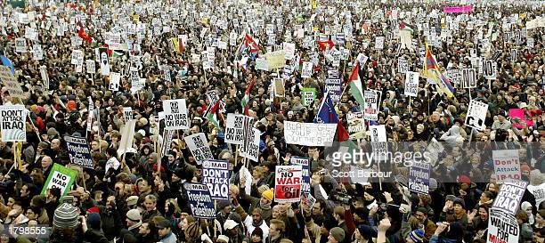 Thousands of people gather in Hyde Park after finishing an antiwar protest march February 15 2003 in London England The march is believed to be the...