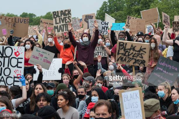 Thousands of people gather in Hyde Park to protest against the abuse of the rights of Black people across the world and to call for an end to...