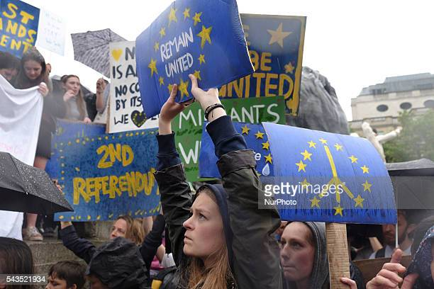 Thousands of people gather in Trafalgar square in central London on June 28 2016 to protest against Briton leaving the EU