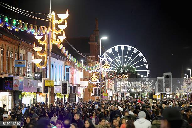 Thousands of people gather on Leicester's Golden Mile to watch the switching on of the lights to mark the start of the Hindu festival of Diwali on...