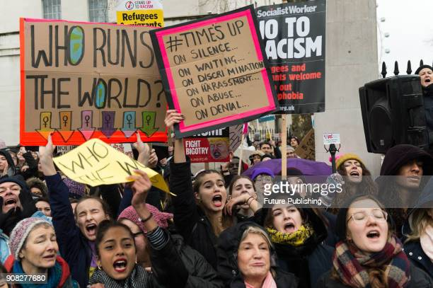 Thousands of people gather on Whitehall outside Downing Street to take part in Time's Up rally organised by Women's March London which coincides with...
