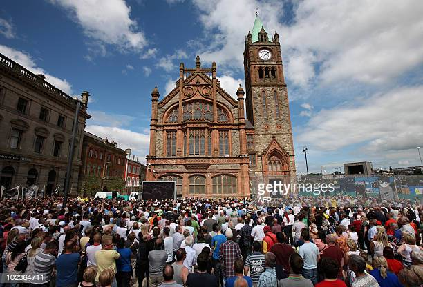 Thousands of people gather outside the Guild Hall in Londonderry Northern Ireland June 15 2010 to hear the results of the Saville Inquiry The Saville...