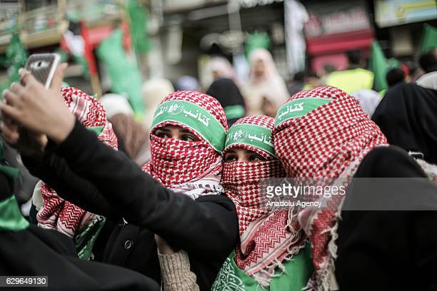 Thousands of people gather to celebrate the 29th anniversary of the foundation of Hamas at the Rimal district of Gaza on December 14 2016
