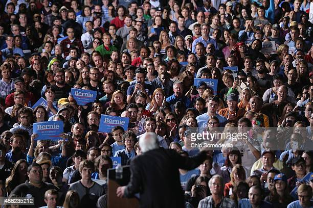 Thousands of people gather to hear Democratic presidential candidate Sen Bernie Sanders during a campaign rally at the Prince William County...