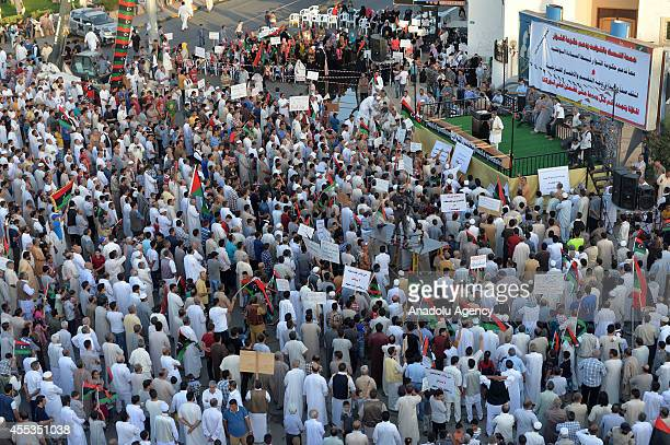 Thousands of people gather to mark the 17 February 2011 revolution that overthrew the Muammar al-Gaddafi's 42 year regime, in Misrata, northwestern...