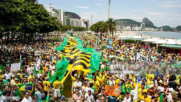 Thousands of people gather to protest against the government of Brazilian President Dilma Rousseff at Copacabana beach in Rio de Janeiro Brazil on...
