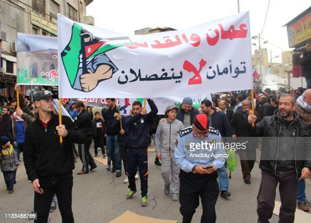 Thousands of people gather to stage a demonstration in support of Jerusalem and AlAqsa Mosque at Nahl Square in Amman Jordan on March 29 2019