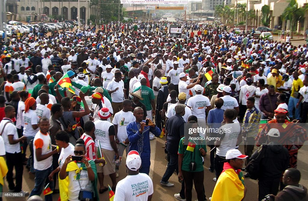 Protest against terrorist group Boko Haram in Cameroon's capital : News Photo