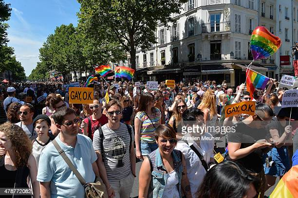 Thousands of people gather to support gay rights by celebrating during the Gay Pride Parade on June 27 2015 in Paris France Yesterday the United...