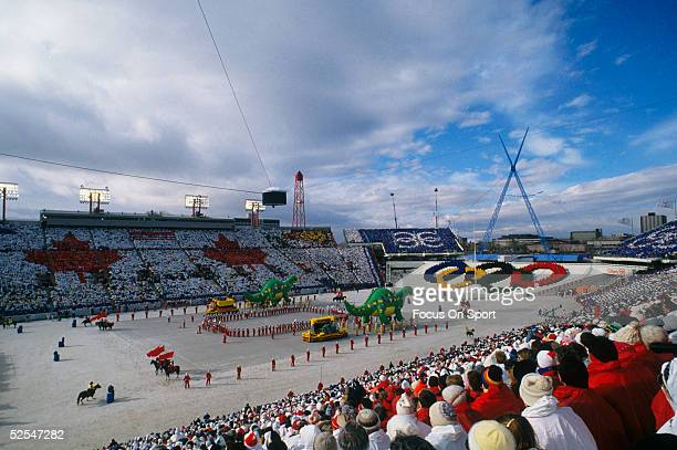 Thousands of people gather to watch the opening ceremonies of the Winter Olympics circa Febuary 1988 in Calgary Canada