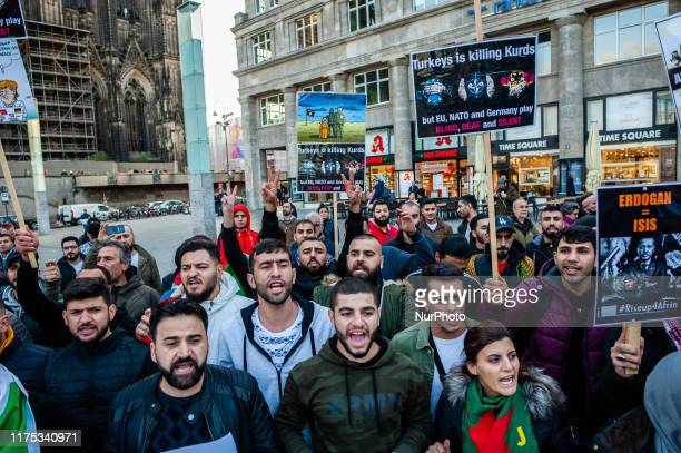 Thousands of people gathered at the Cologne central station, Germany, on 10th October 2019, to protest against Turkey's invasion of the...
