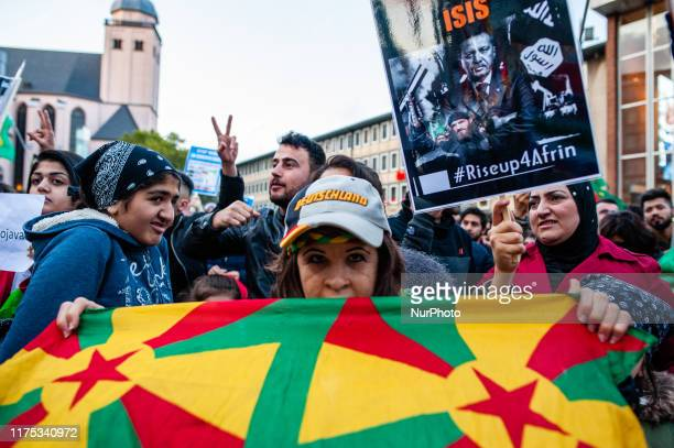 Thousands of people gathered at the Cologne central station Germany on 10th October 2019 to protest against Turkey's invasion of the Kurdishliberated...