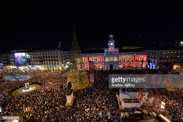 Thousands of people gathered in Sol Square celebrate new year in Madrid Spain January 1 2015