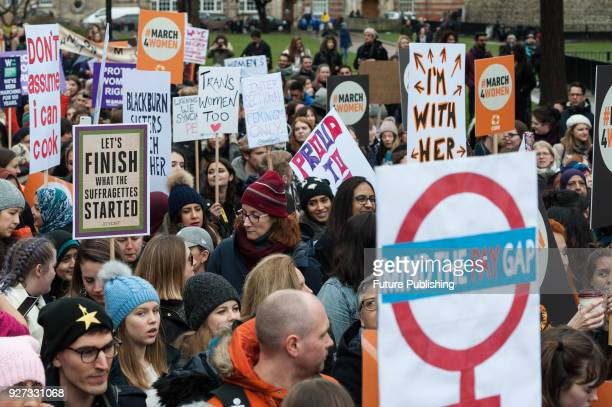 Thousands of people including politicians celebrities and activists gather at Old Palace Yard outside the Houses of Parliament in London to take part...