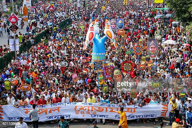 Thousands of people joined in the rally named quotMongol Shovajatraquot as part of celebrating Bengali New Year 1323 in Dhaka Bangladesh on April 14...