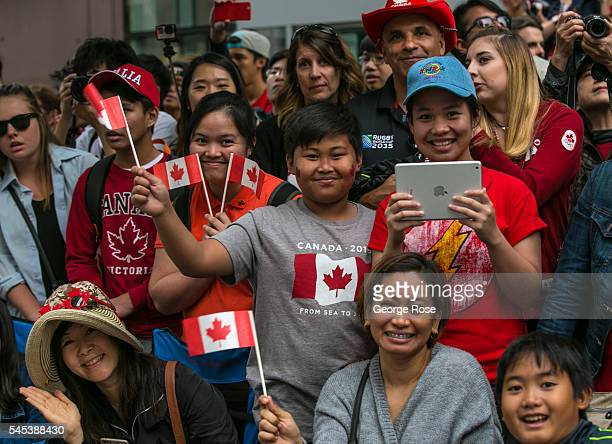 Thousands of people line the Canada Day Parade route along Burrard Street on July 1 2016 in Vancouver British Columbia Canada Vancouver the largest...