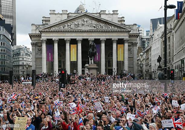 Thousands of people line the streets during the London 2012 Victory Parade for Team GB and Paralympic GB athletes on September 10, 2012 in London,...