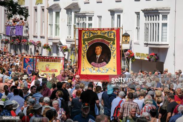 Thousands of people line the streets of Durham City during the 134th Durham Miners' Gala on July 14, 2018 in Durham, England. Over two decades after...