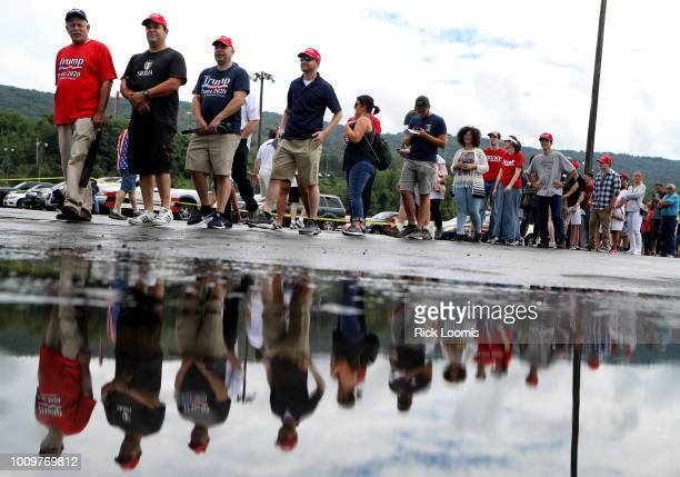Thousands of people line up for President Donald J Trump's rally on August 2 2018 at the Mohegan Sun Arena at Casey Plaza in Wilkes Barre...