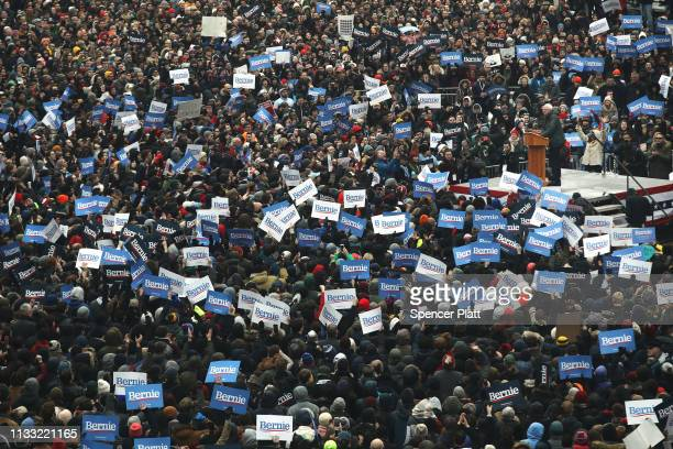 Thousands of people listen to Democratic Presidential candidate U.S. Sen. Bernie Sanders speak to supporters at Brooklyn College on March 02, 2019 in...