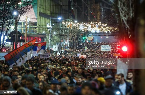 Thousands of people many blowing whistles protest against the Serbian President in Belgrade on December 29 2018 Thousands of protesters marched in...