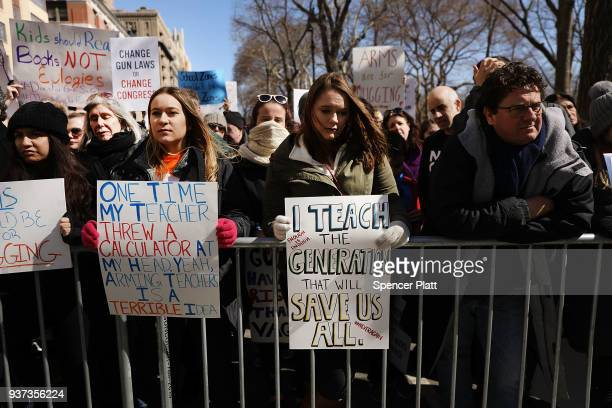Thousands of people many of them students march against gun violence in Manhattan during the March for Our Lives rally on March 24 2018 in New York...