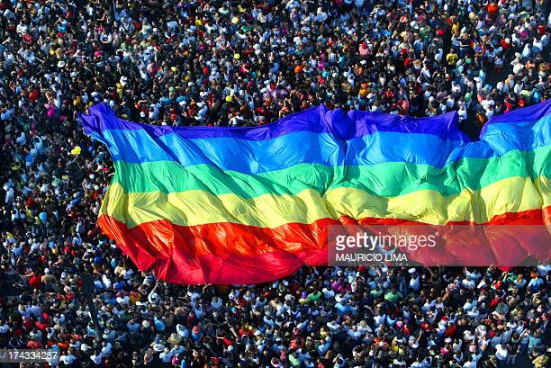 Thousands of people march and dance during the 9th Gay Lesbian Bisexual and Transgender parade held at Paulista Avenue in Sao Paulo Brazil 29 May...
