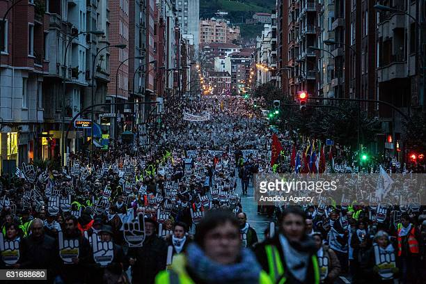 Thousands of people march during a demonstration against the dispersal of ETA prisoners calling for their approach to jails close to their places of...