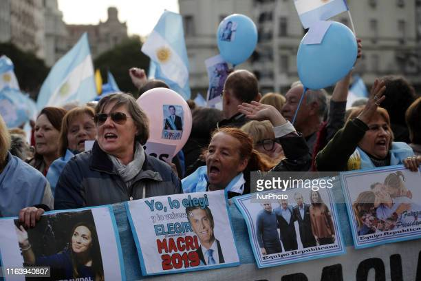 Thousands of people march from Obelisco monument to Casa Rosada to support President of Argentina Mauricio Macri in Buenos Aires Argentina on August...