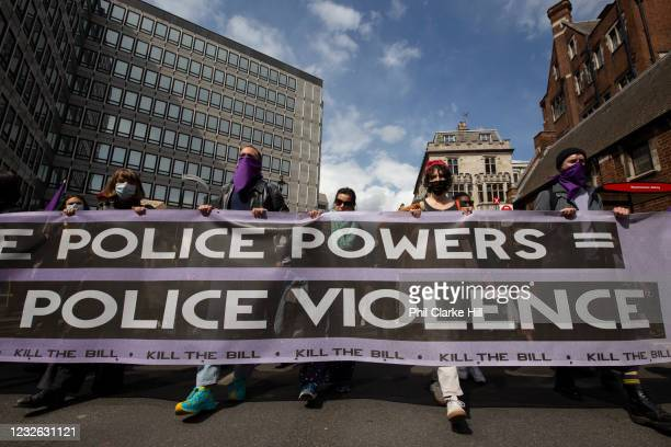 Thousands of people march in central London as well as the rest of the UK, in protest of the Police, Crime, Sentencing and Courts bill on 1st May...