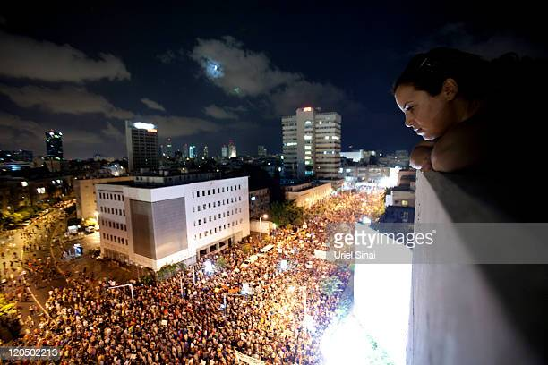 Thousands of people march in the streets during a protest against the rising cost of living on August 6 2011 in Tel Aviv Israel Protests across...