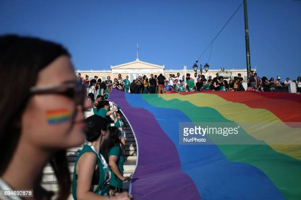 Thousands of people march in the streets during the annual Gay Pride parade organized by LGBT activists in Athens Greece June 10 2017