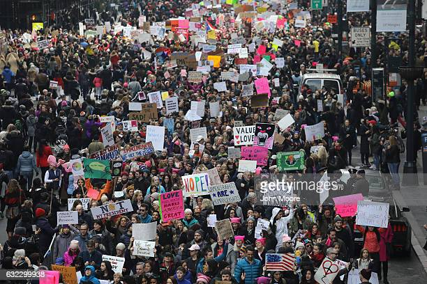 Thousands of people march on 42nd street during the Women's March on January 21 2017 in New York City The Midtown Manhattan event was one of many...