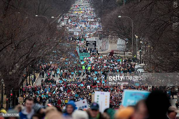 Thousands of people march on Constitution Avenue during the March for Life January 27 2017 in Washington DC This year marks the 44th anniversary of...