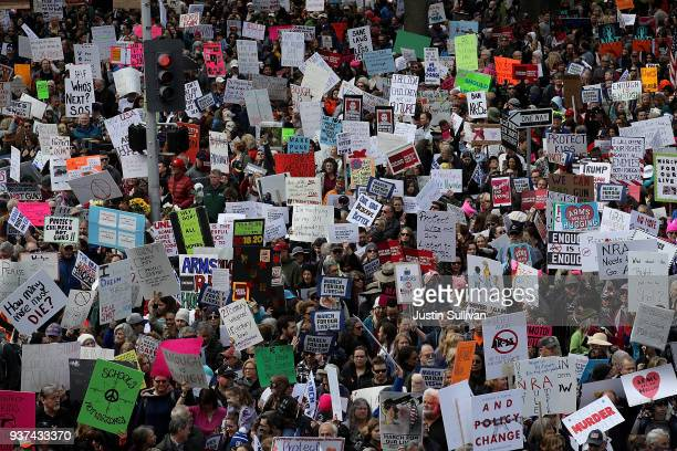 Thousands of people march to the California State Capitol during a March for Our Lives demonstration on March 24 2018 in Sacramento California More...