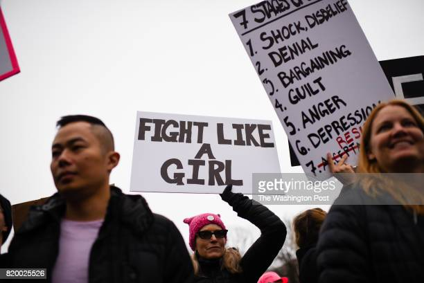 Thousands of people marched in Washington DC on Saturday January 21 2016 for the Women's March on Washington A protestor marches down Constitution...