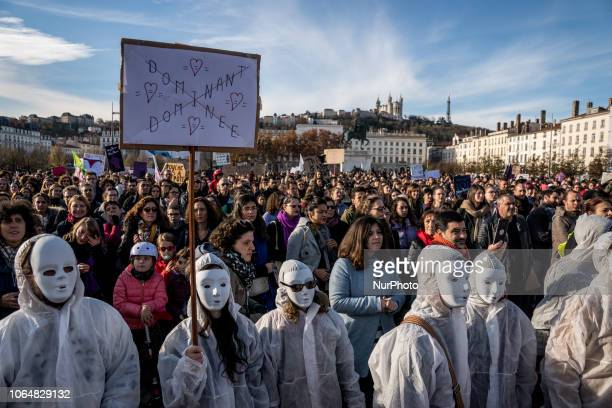 Thousands of people marched through the streets of Lyon France to protest against genderbased and sexual violence at the call of the collective...