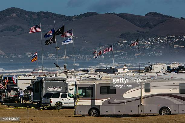 Thousands of people motorhomes and recreational vehicles crowd onto Pismo State Beach for a long Thanksgiving weekend as viewed on November 25 in...