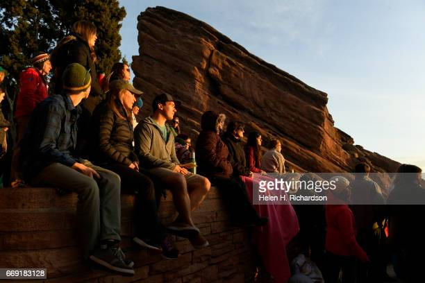 Thousands of people pack the seats as they take part in the 70th annual Easter sunrise service at Red Rocks Amphitheatre on April 16 2017 in Morrison...