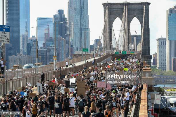 Thousands of people participate in a march for both âBlack Lives Matterâ and to commemorate the 155th anniversary of Juneteenth in New York City...