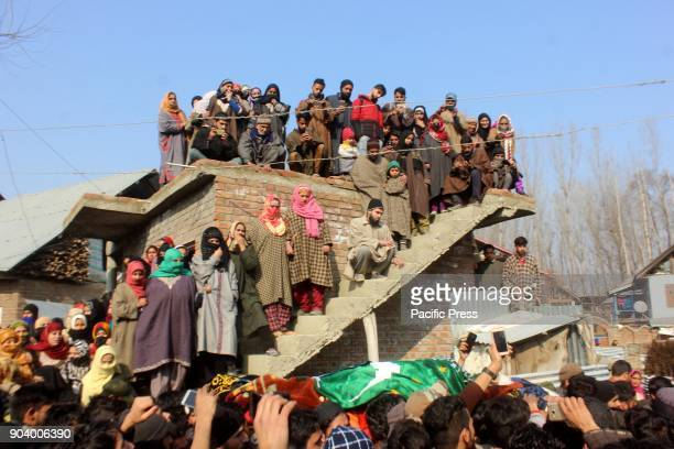 Thousands of people participate in the funeral service of slain Hizb militant Farhan Wani at his ancestral villages in Kulgam