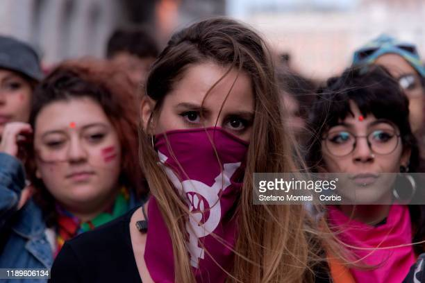 """Thousands of people participate in the National March against Male and Gender Violence organized by the feminist movement """"Non una di Meno"""" in view..."""