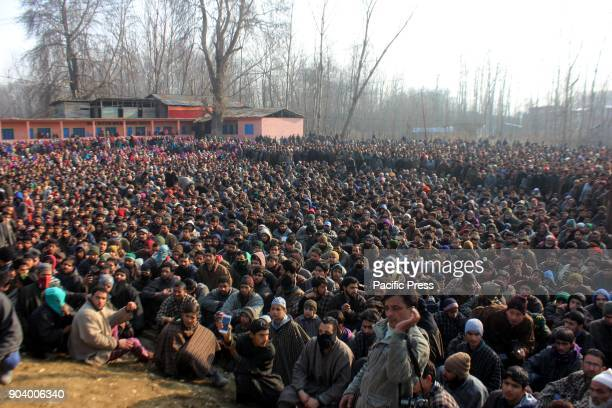 Thousands of people participates the funeral service of slain Hizb militant Farhan Wani at his ancestral villages in Kulgam
