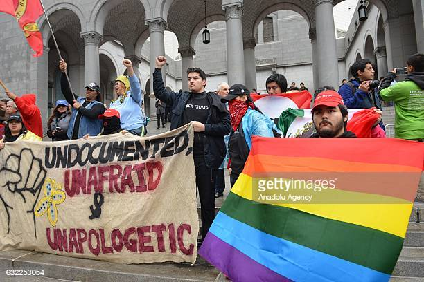 Thousands of people protest against the inauguration of the 45th President of the United States Donald Trump under heavy rain in Downtown Los Angeles...