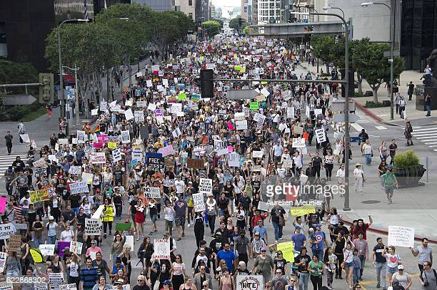 Thousands of people protest in the streets against Presidentelect Donald Trump on November 12 2016 in Los Angeles California Republican Donald Trump...